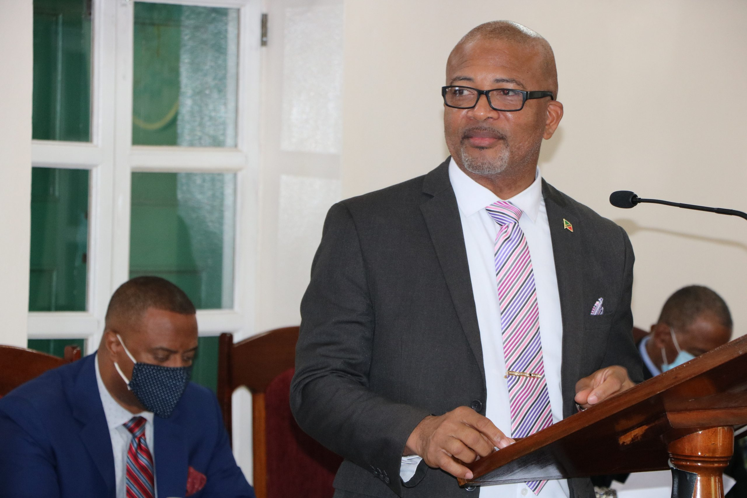 Hon. Spencer Brand, Minister of Labour in the Nevis Island Administration making his presentation at a sitting of the Nevis Island Assembly on July 13, 2021