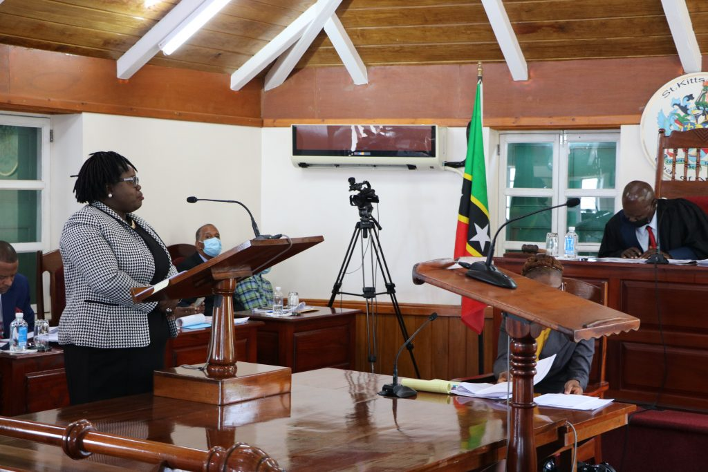 Hon. Hazel Brandy-Williams, Junior Minister of Health on Nevis at a sitting of the Nevis Island Assembly on July 13, 2021