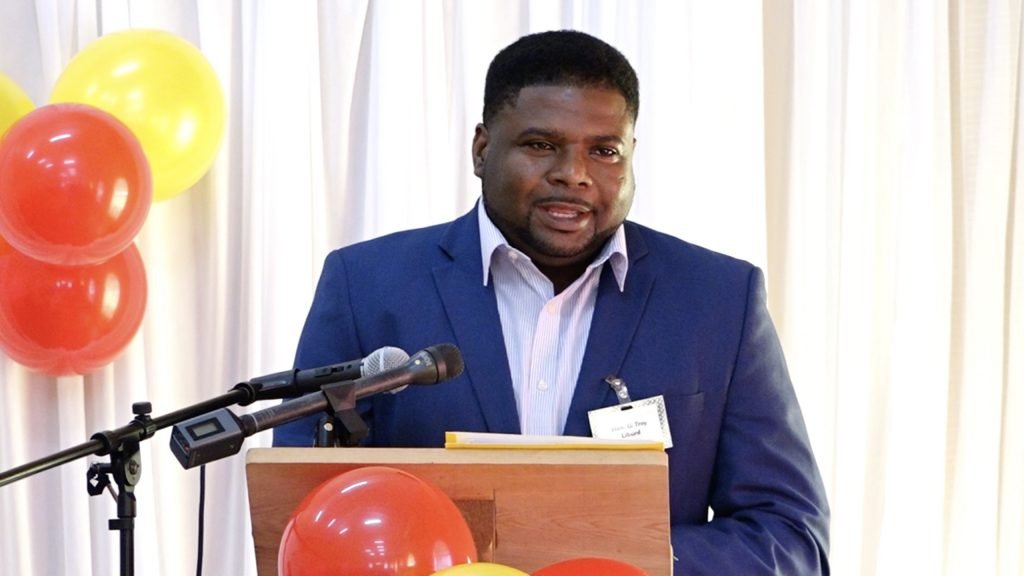 Hon. Troy Liburd, Junior Minister of Education in the Nevis Island Administration, addressing participants of the Department of Education's Prospective Teachers' Course 2021 opening ceremony on July 19, 2021, at the Jessups Community Centre