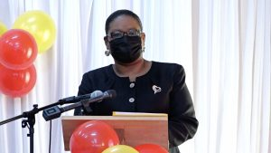 Ms. Zahnela Claxton, Principal Education Officer in the Department of Education, addressing participants of the Department of Education's Prospective Teachers Course 2021 opening ceremony on July 19, 2021, at the Jessups Community Centre