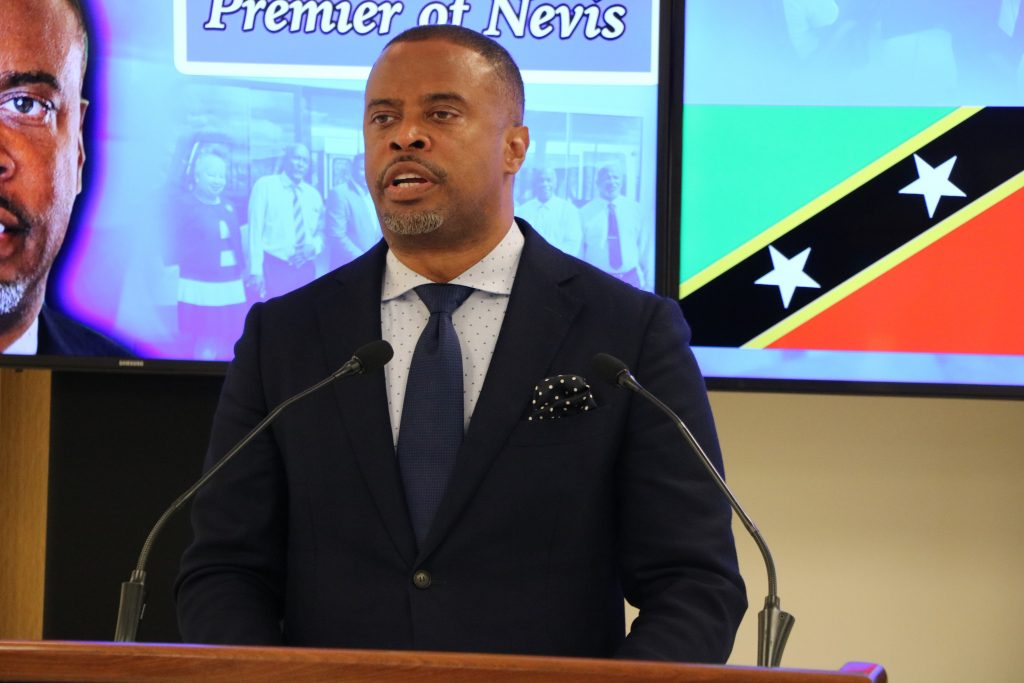 Hon. Mark Brantley, Premier of Nevis at his June press conference