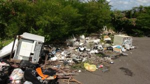 An Illegal dumping site in Nevis (file photo)