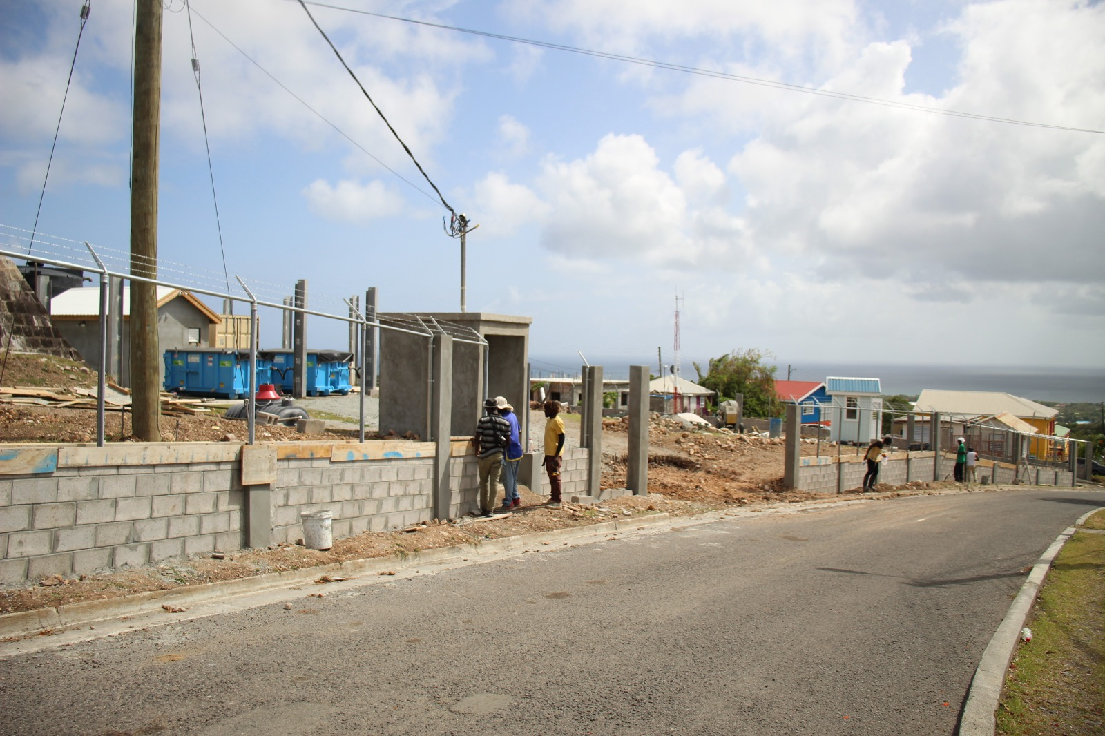 Ongoing construction of a perimeter fence in the Hamilton Reservoir Site Fencing Project to protect the water resource at the Nevis Water Department's water storage site at Hamilton o July 22, 2021