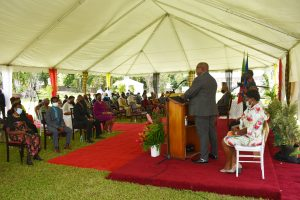 Dr. the Hon Timothy Harris, Prime Minister of St. Kitts and Nevis, delivering remarks at the Investiture Ceremony at Government House in St. Kitts on August 17, 2021