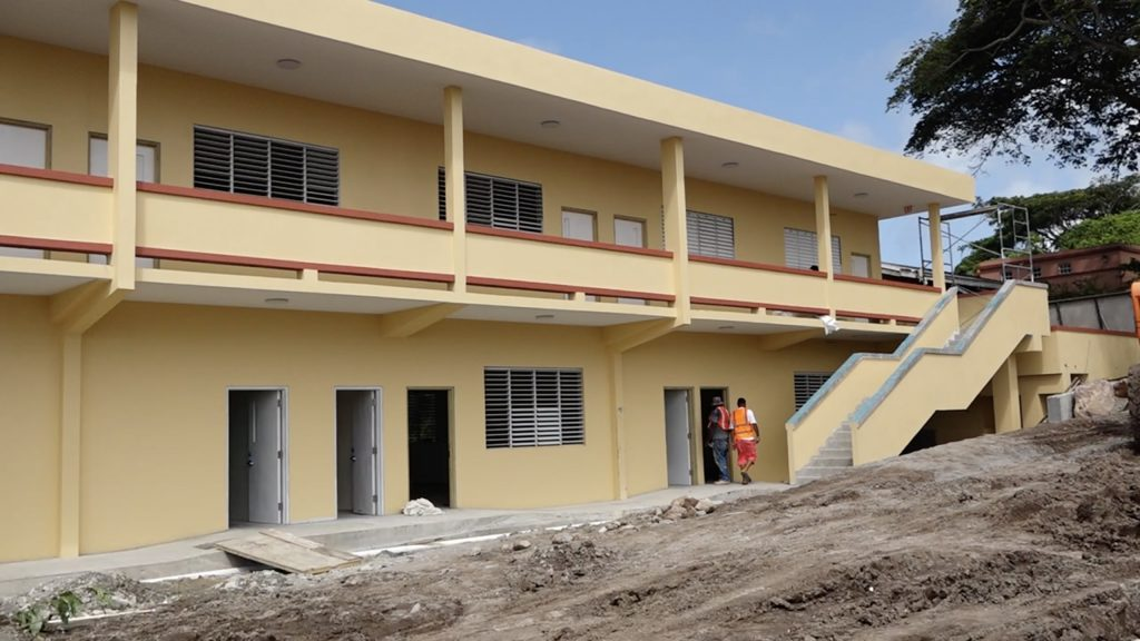 A section of the new two-storey Technical Vocational Education and Training wing at the Gingerland Secondary School