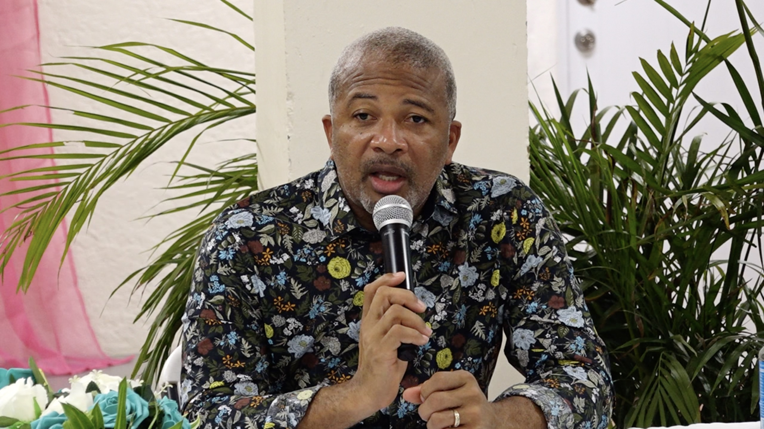 Hon. Spencer Brand, Minister of Communications and Works on Nevis addressing Bath Village residents at a town hall meeting on September 02, 2021