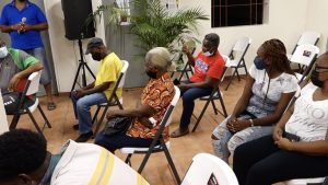 A section of residents of Bath Village at a town hall meeting hosted by the Ministry of Communication and Works on September 02, 2021