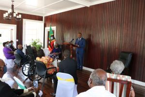 Hon. Mark Brantley, Premier of Nevis delivering remarks at the Investiture Ceremony for Dr. Albert Linton Liburd Sr. at Government House at Bath Plain on September 09, 2021