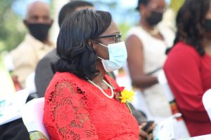 Retired registered nurse Mrs. Ernette Manners listening attentively at an awards ceremony at Government House on September 20, 2021, to mark the 38th Anniversary of Independence of St. Christopher and Nevis