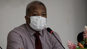 Hon. Spencer Brand, Minister of Physical Planning on Nevis, delivering his presentation at a consultation for contractors hosted by the Department of Physical Planning at the St. Paul's Anglican Church Hall on September 07, 2021