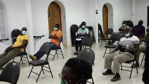 A section of contractors in attendance participating in a consultation hosted by the Department of Physical Planning at the St. Paul's Anglican Church Hall on September 07, 2021