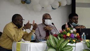 Seated at the head table (l-r) Mr. Denzil Stanley, Principal Assistant Secretary in the Ministry of Communication and Works; Hon. Spencer Brand, Minister of Physical Planning; and Mr. De-Jono Liburd, Legal Counsel at the Legal Department at a consultation for contractors hosted by the Department of Physical Planning at the St. Paul's Anglican Church Hall on September 07, 2021