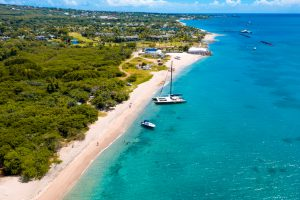 An aerial view of a section of Nevis' coastline with the Caribbean Sea lapping on the beach (photo provided)