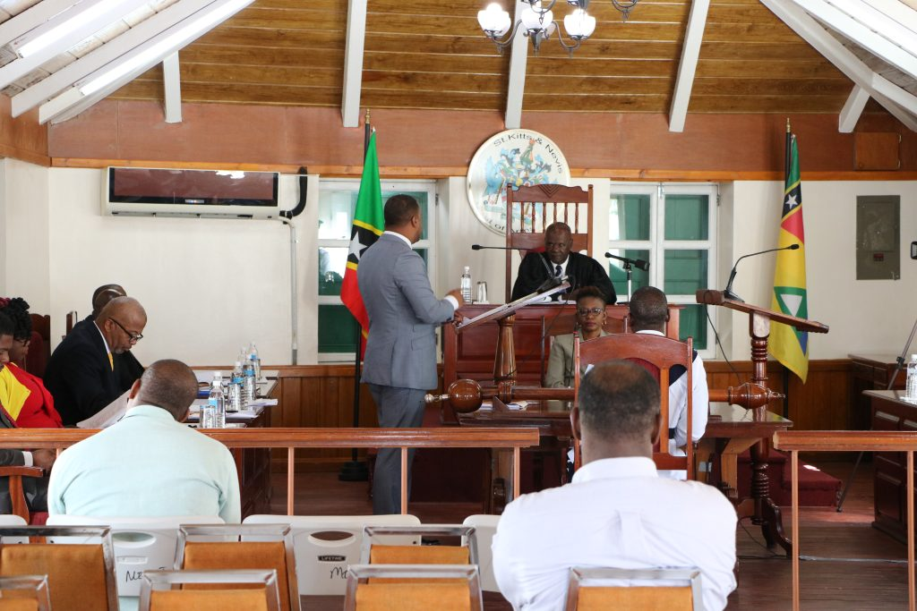 The Nevis Island Assembly in session with Hon. Farrel Smithen President of the Assembly presiding (file photo)